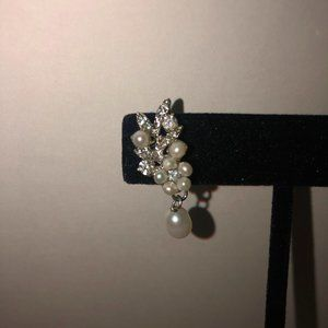 Gorgeous Faux Diamond and Pearl Earrings